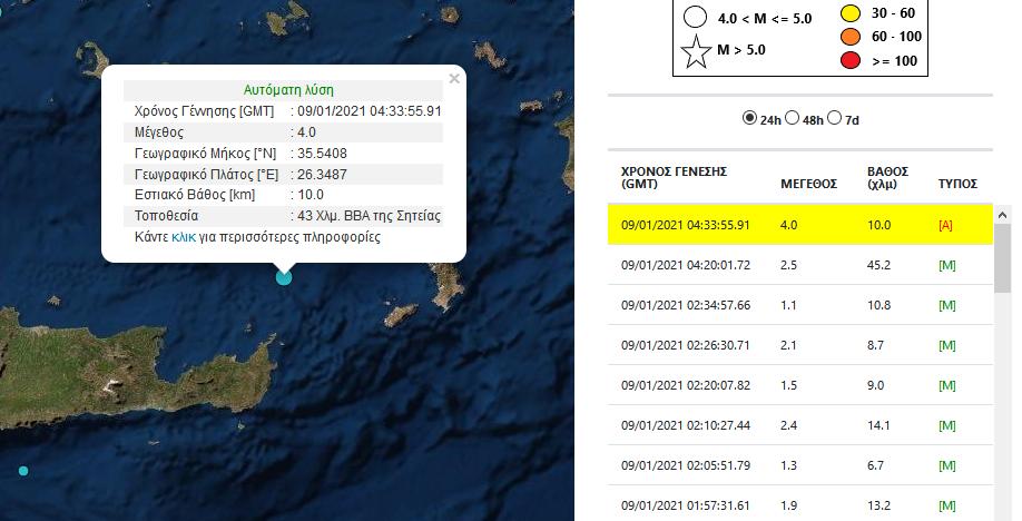 Σεισμός βόρεια Κρήτη