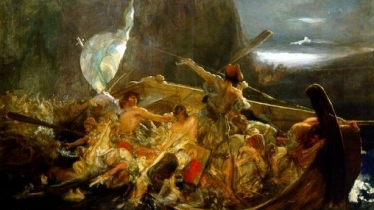 Στων Ψαρών την ολόμαυρη ράχη περπατώντας η Δόξα μονάχη...